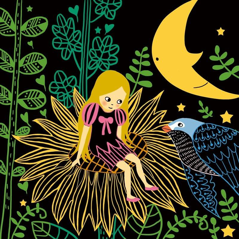 七彩童话刮刮画系列 拇指姑娘 儿童创意手工绘画 儿童 趣味刮版画