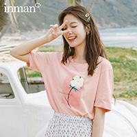 茵曼粉色印花t恤女2020夏装新款纯棉圆领宽松短袖体恤上衣小清新