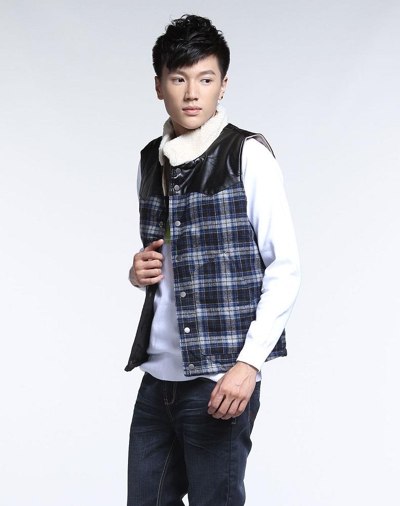 马外套】森马冬装新款男装格纹时尚蓝黑色棉服图片