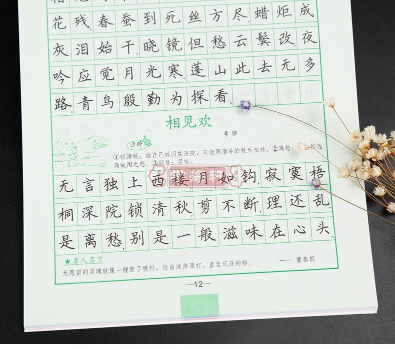 中学生背古诗词 楷书 司马彦字帖硬笔铅笔钢笔圆珠笔水笔签字笔字帖图片