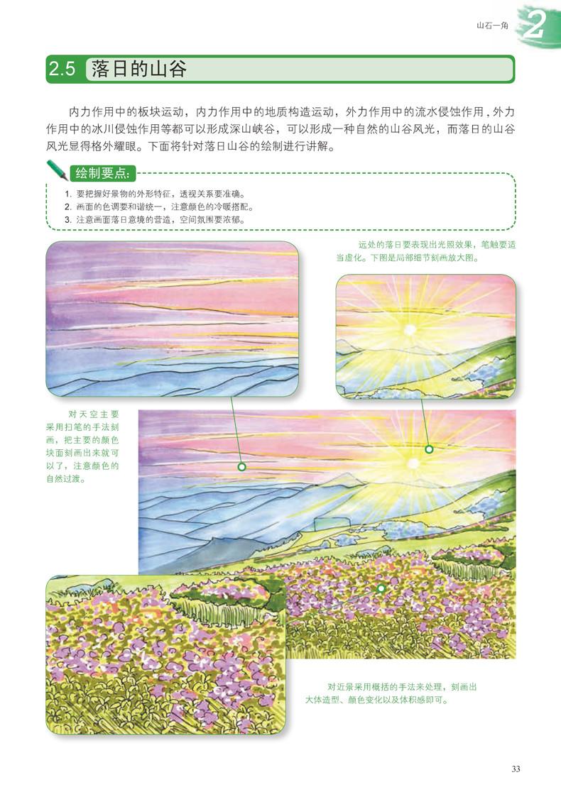 内容包括:山水风景马克笔手绘基础;山石一角;水景一角;国内旅游景点的